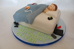 18th birthday bed cake