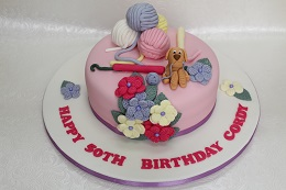 50th birthday knitting cake