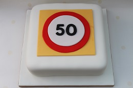 50th wedding anniversary road sign cake