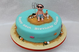 60th birthday beach cake