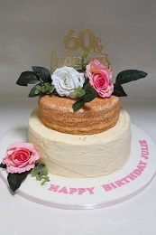 60th birthday flower cake