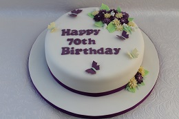 70th birthday flower cake