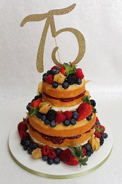 75th birthday naked cake with fruit