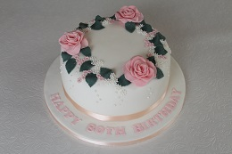 80th birthday rose cake