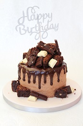 brownie topped drip cake