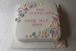butterfly christening cake