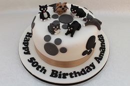 cat and dog birthday cake