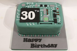 computer circuit board birthday cake