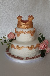 crown and lace birthday cake