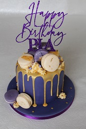 drip cake gold and purple