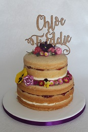engagement cake with edible flowers