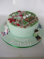 fairy garden split birthday cake