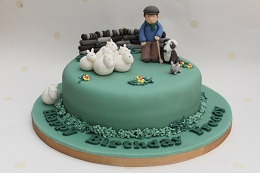 farmer and sheep birthday cake