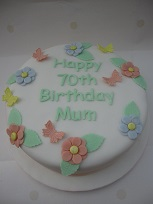 flower and butterfly birthday cake