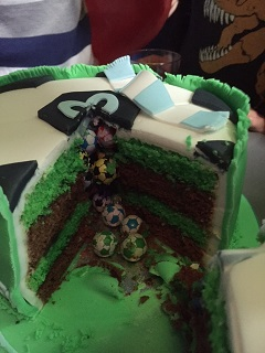 football filled cake
