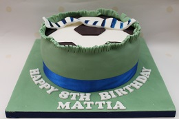 football filled birthday cake
