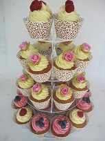 fruit and flower topped wedding cupcakes