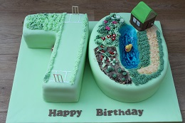 gardening and cricket cake