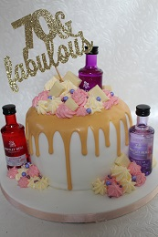 gin themed drip cake