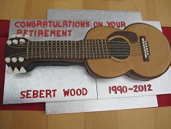 guitar retirement cake