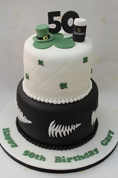 irish all blacks 50th birthday cake