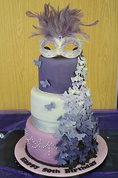 masquerade ball birthday cake