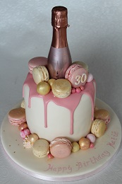 prosecco 30th birthday drip cake