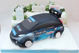 rally car birthday cake