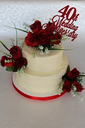 ruby wedding anniversary cake silk flowers