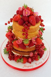 ruby wedding anniversary naked cake