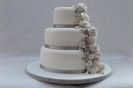 silver wedding anniversary rose cake