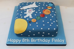 space and planet birthday cake