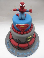 spiderman and batman cake