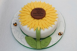 sunflower and bee birthday cake