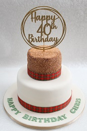 tartan 40th birthday cake