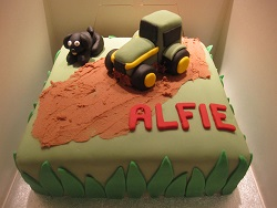 tractor cake with dog