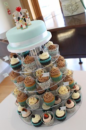 wedding cupcake tower with topper cake