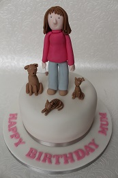 woman and pets cake
